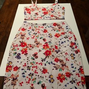 2pc floral top and midi skirt